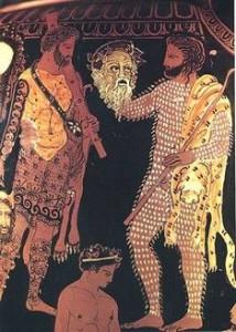 Katharsis (seelische Reinigung) im antiken Theater, Vasenmotiv, 4.Jh. v. Chr. , Arch. Nationalmuseum Neapel. Bild: griechischestheater.npage.de