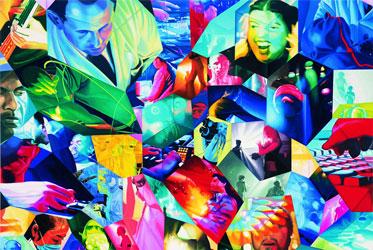 Bild: Corinne Wasmuht, Menschen im Kunstlicht, 1999 (Bildausschnitt) Öl auf Holz, 177 x 155 cm, Foto: Nic Tenwiggenhorn, Bild: www.adk.de