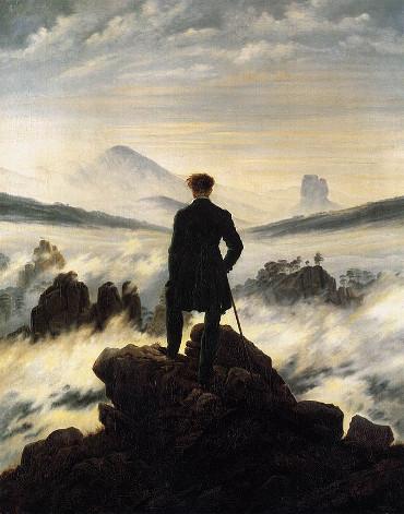 Caspar David Friedrich, Wanderer über dem Nebelmeer, 1818, Hamburger Kunsthalle.  Bild: http://de.wikipedia.org/wiki/Der_Wanderer_%C3%BCber_dem_Nebelmeer