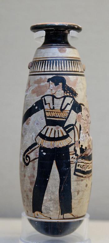 Amazone in Hosen mit Schild und Köcher (attisches Alabastron, um 470 v. Chr.), Bild: de.wikipedia.org