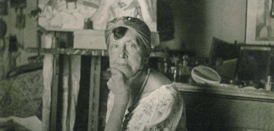 Marianne Werefkin in ihrem Atelier in Ascona 1925. Bild: museen-bottcherstrasse.de