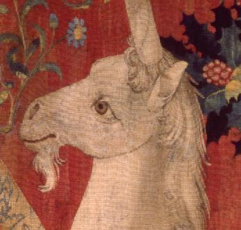Die Dame mit dem Einhorn, Teppich, Flandern um 1500, Musée de Cluny Paris, Detail. Bild: https://fr.wikipedia.org/wiki/La_Dame_%C3%A0_la_licorne