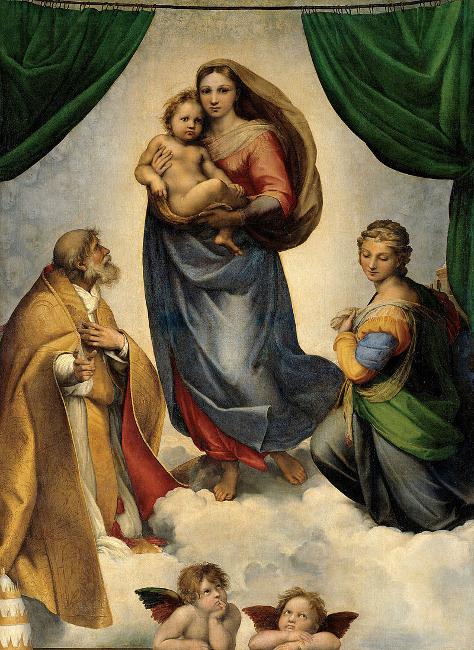 Sixtinische Madonna Raffael, 1512/13 Öl auf Leinwand, 256 × 196 cm Gemäldegalerie Alte Meister Dresden. https://de.wikipedia.org/wiki/Sixtinische_Madonna