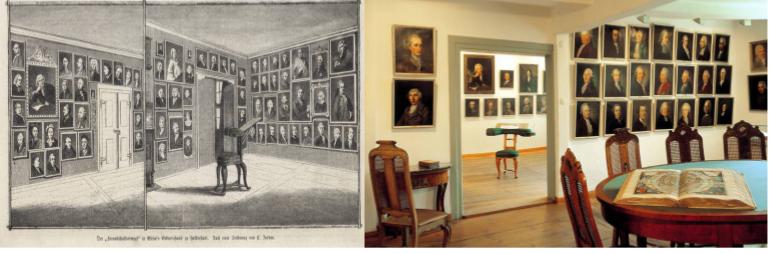 der Freundschaftstempel im Gleimhaus, historisch und heute. Bildquelle: http://www.gleimhaus.de/