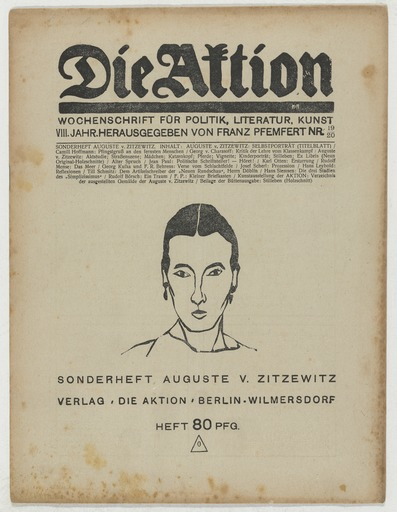 "Augusta von Zitzewitz, Sonderheft ""die Aktion"" 1918, Bild: http://www.moma.org/rails4/collection/artists/41156?locale=zh"