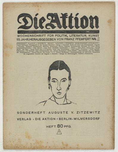 """Augusta von Zitzewitz, Sonderheft """"die Aktion"""" 1918, Bild: http://www.moma.org/rails4/collection/artists/41156?locale=zh"""