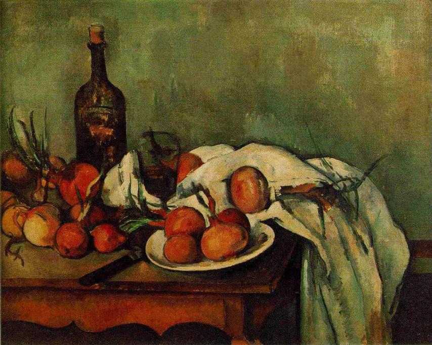 Paul Cézanne (1896-1898), Flasche und Zwiebeln, 66 x 82 cm, Öl/Lw., Musée d´Orsay Paris. Bildquelle: www.zeno.org