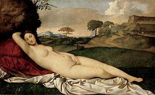 Giorgione (1477–1510),  Tizian 1490-1576, Schlafende Venus, Öl/Lw., 108,5 x 175 cm, 1508/10, Gemäldegalerie Dresden. Bild: https://commons.wikimedia.org/wiki/File:Giorgione_-_Sleeping_Venus_-_Google_Art_Project_2.jpg