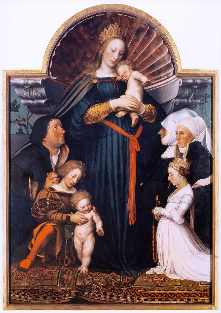 Hans Holbein d.J., Darmstädter Schutzmantelmadonna, Öl/Pinienholz, 146.5 x 102 cm, Sammlung Würth https://commons.wikimedia.org