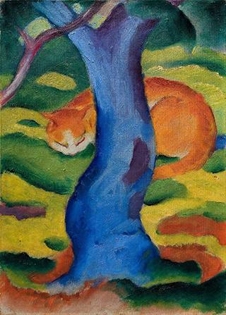 Franz Marc, Kinderbild (Katze hinter einem Baum), 1910/11 Franz Marc Museum, Kochel a. See, Privatbesitz © Foto: Michael Herling / Aline Gwose. Bildquelle: sprengel-museum.de