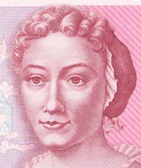 Das Portrait von Sibylla Merian auf dem 500 DM-Schein https://de.wikipedia.org